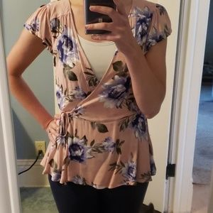 Pink floral short sleeved blouse with front tie